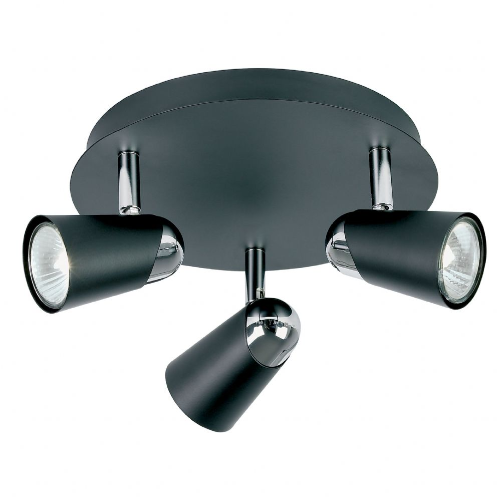 3 Light Spot Light Black Painted/Chrome Plated & Lamps EL-10053